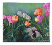 Bunnies In The Blooms Fleece Blanket