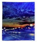 Bus Stop Sunrise Fleece Blanket