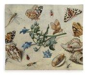 Butterflies, Clams, Insects Fleece Blanket