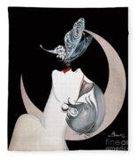 Butterfly Kiss French Art Deco Flapper Woman Fleece Blanket