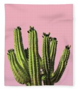 Cactus - Minimal Cactus Poster - Desert Wall Art - Tropical, Botanical - Pink, Green - Modern Prints Fleece Blanket