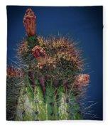 Cactus With Pink Flower Fleece Blanket