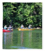 Canoeing On The Rideau Canal In Newboro Channel Ontario Canada Fleece Blanket