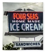 Cape Cod Four Seas Home Made Ice Cream Neon Sign Fleece Blanket