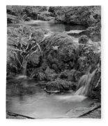 Cascades In A Peaceful Creek Scenery Fleece Blanket