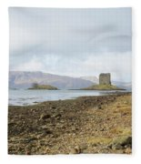 castle Stalker in late autumn Fleece Blanket