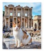 Cat In Front Of The Library Of Celsus Fleece Blanket