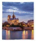Cathedral Notre Dame And River Seine Fleece Blanket by Brian Jannsen