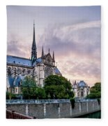 Cathedral Of Notre Dame From The Bridge - Paris France Fleece Blanket