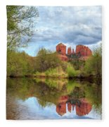 Cathedral Rock Reflection Fleece Blanket