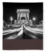 Chain Bridge At Night In Budapest Fleece Blanket