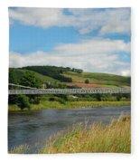 chainbridge over river Tweed at Melrose Fleece Blanket
