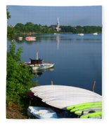 Chambly Basin And The Church Of St Joseph In Quebec Fleece Blanket