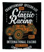 Championship Speed Race Classic Racing Fleece Blanket