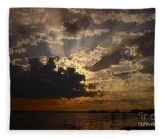 Cheboygan Lakeside Sunset Fleece Blanket