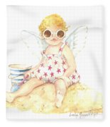 Cherub In The Sand Fleece Blanket