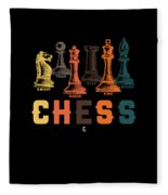 Chess Master Player Pawn Bishop Knight Queen King Graphic Fleece Blanket