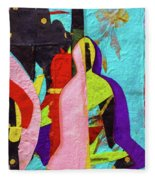 Chiang Mai Buddha Collage 16 Fleece Blanket