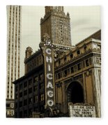 Chicago Cinema Theater - Vintage Photo Art Fleece Blanket