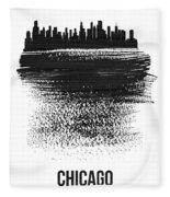 Chicago Skyline Brush Stroke Black Fleece Blanket