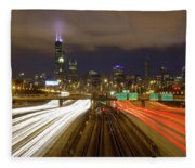 Chicago Skyline South Side View Fleece Blanket