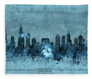 Chicago Skyline Vintage 4 Fleece Blanket