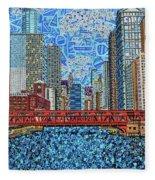 Chicago Wells Street Bridge 2 Fleece Blanket