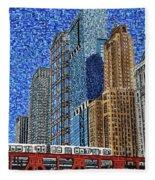 Chicago Wells Street Bridge Fleece Blanket