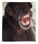 Chimp With Mouth Open Fleece Blanket