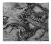 Chinese Dragons In Black And White Fleece Blanket