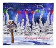 Christmas Card With Bird House Fleece Blanket