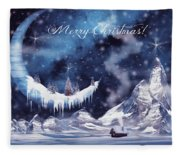 Christmas Card With Frozen Moon Fleece Blanket