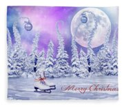 Christmas Card With Ice Skates Fleece Blanket