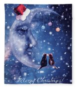 Christmas Card With Smiling Moon And Cats Fleece Blanket
