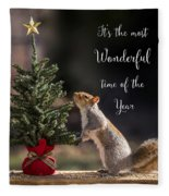 Christmas Squirrel Most Wonderful Time Of The Year Square Fleece Blanket
