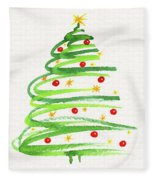 Christmas Tree With Decoration Fleece Blanket