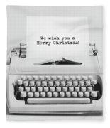 Christmas Wishes Written On An Old Typewriter. Fleece Blanket