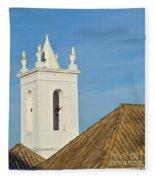 Church Bell Tower Behind Tiled Roofs In Tavira Fleece Blanket