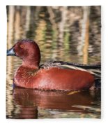 Cinnamon Teal On The Pond Fleece Blanket