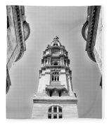 City Hall In Center City Philadelphia In Black And White Fleece Blanket
