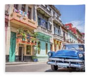 Classic Car In Havana, Cuba Fleece Blanket