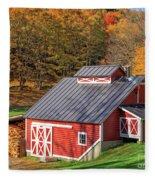 Classic Vermont Maple Sugar Shack Square Fleece Blanket