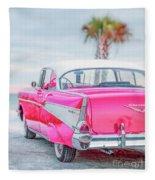 Classic Vintage Pink Chevy Bel Air  8x10 Scene Fleece Blanket