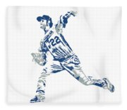 Clayton Kershaw Los Angeles Dodgers Pixel Art 30 Fleece Blanket