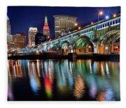 Cleveland Ohio Skyline Reflects Colorfully Fleece Blanket