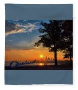 Cleveland Sign Sunrise Fleece Blanket