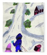 Climbing To The Top Of The Hill Fleece Blanket