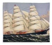 Clipper Ship Three Brothers, The Largest Sailing Ship In The World Published By Currier And Ives Fleece Blanket