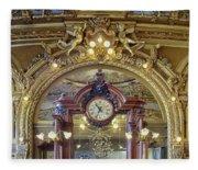 Clock At Le Train Bleu Fleece Blanket