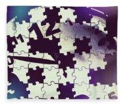 Clock Holes And Puzzle Pieces Fleece Blanket